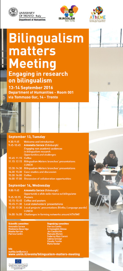 Bilingualism matters Meeting, Trento, 13-14 settembre 2016